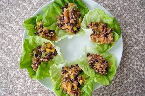Quinoa black bean lettuce wraps | Healthy Recipes | Pinterest