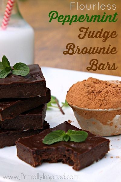 Flourless Peppermint Fudge Brownie Bars | Cakes & Bakes | Pinterest