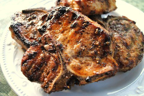 saveur - Beer Brined Grilled Pork Chops with Fiery Applesauce. A ...