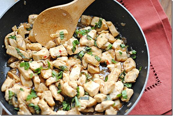 spicy basil chicken - my preference is to have ground chicken (or ...