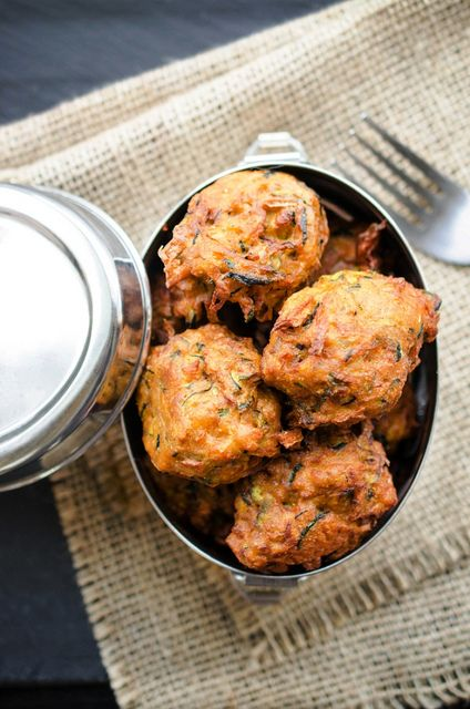 ... Onion Bhajis (Indian Spiced Zucchini and Onion Fritters or Pakoras