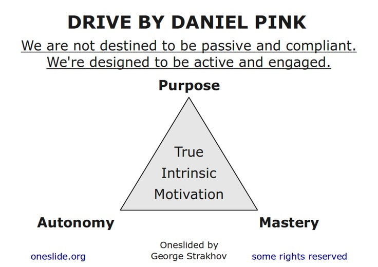 daniel pink s elements of motivation autonomy Daniel pink tackles the conundrum in this wonderful animation by the rsa — who have previously sketch-noted such fascinating pieces of cultural psychology as the truth about dishonesty, the power of introverts, where good ideas come from, what's wrong with the left-brain/right-brain dichotomy, the broken industrial model of education, and .