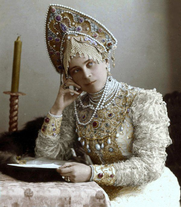 Princess Zinaida Yusupova in Russian dress embroidered with pearls