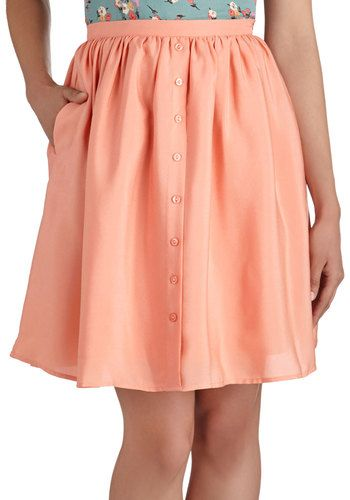 Peach Perfect Skirt - Pink, Solid, Buttons, A-line, Mid-length ...