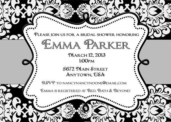 Black and white damask wedding shower bridal shower invitation black