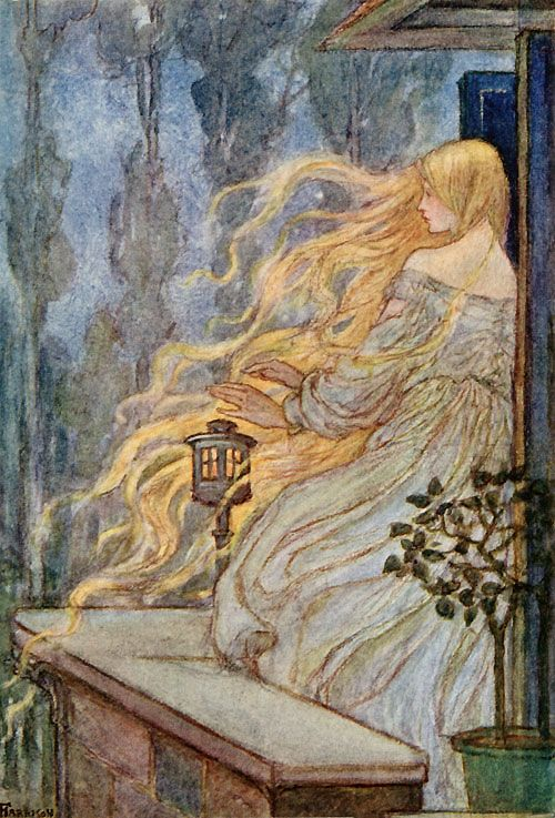 'Rapunzel', a German fairy tale in the collection assembled by the Brothers Grimm was first published in 1812.  The Grimm Brothers' story is an adaptation of the fairy tale 'Persinette' by Charlotte-Rose de Caumont de La Force originally published in 1698.  This painting of Rapunzel is by Emma Florence Harrison