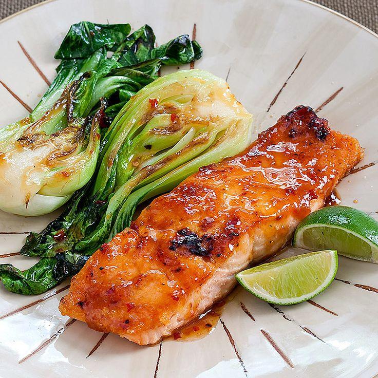 editors of America's Test Kitchen Chili-Glazed Salmon With Bok Choy ...