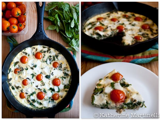Tomato, Mozzarella, and Spinach Frittata with Basil | Recipe