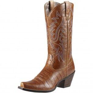 Ariat Tan Dakota Caiman Print Cowgirl Boots