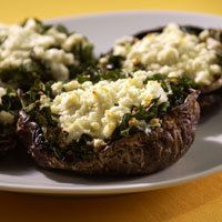 Portobellos with Leeks, Spinach & Goat Cheese