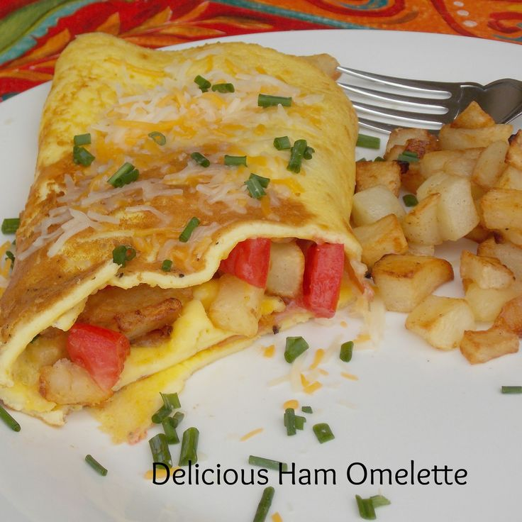 Delicate Ham And Cheddar Omelet Recipe — Dishmaps