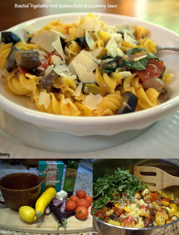 Keeping dinner simple these days. Roasted Vegetables with Quinoa Pasta ...