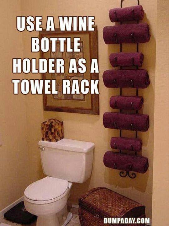 Wine rack in the bathroom