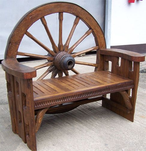 Wagon wheel bench home sweet home pinterest for Carros de madera para jardin