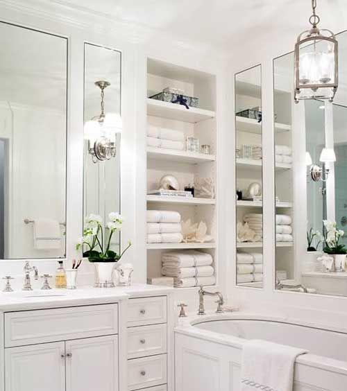 Built In Storage Shelves Bathroom Pinterest