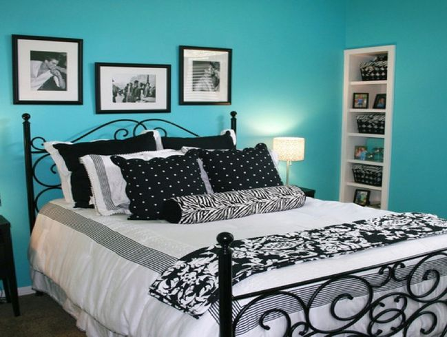 Turquoise and black bedroom new house main bed pinterest - Black and turquoise bedroom ...