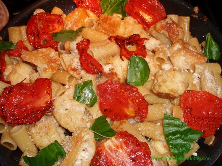RIGATONI WITH PAN ROASTED ROMA TOMATOES AND CAULIFLOWER, GARLIC, OLIVE ...