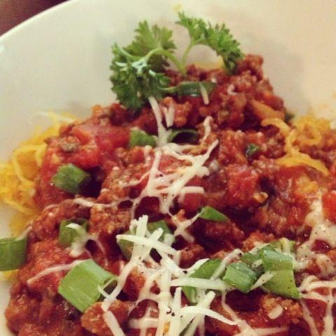 Spaghetti (squash) with Meat Sauce | Treats to make for Mr. Ruiz | Pi ...
