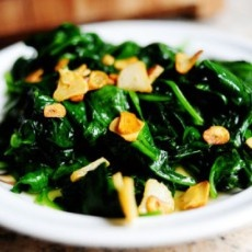 Spinach with Garlic Chips | Food | Pinterest
