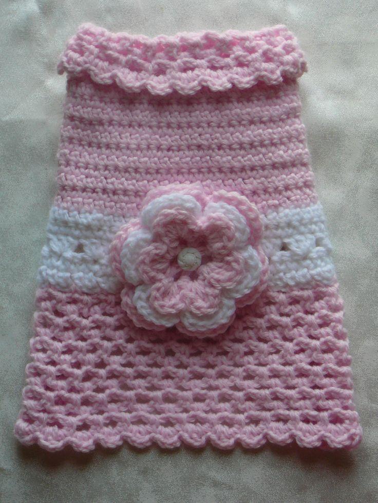 Crochet Xxs Dog Sweater : Crocheted pet dog clothes sweater dress coat pink lavender yellow gre ...