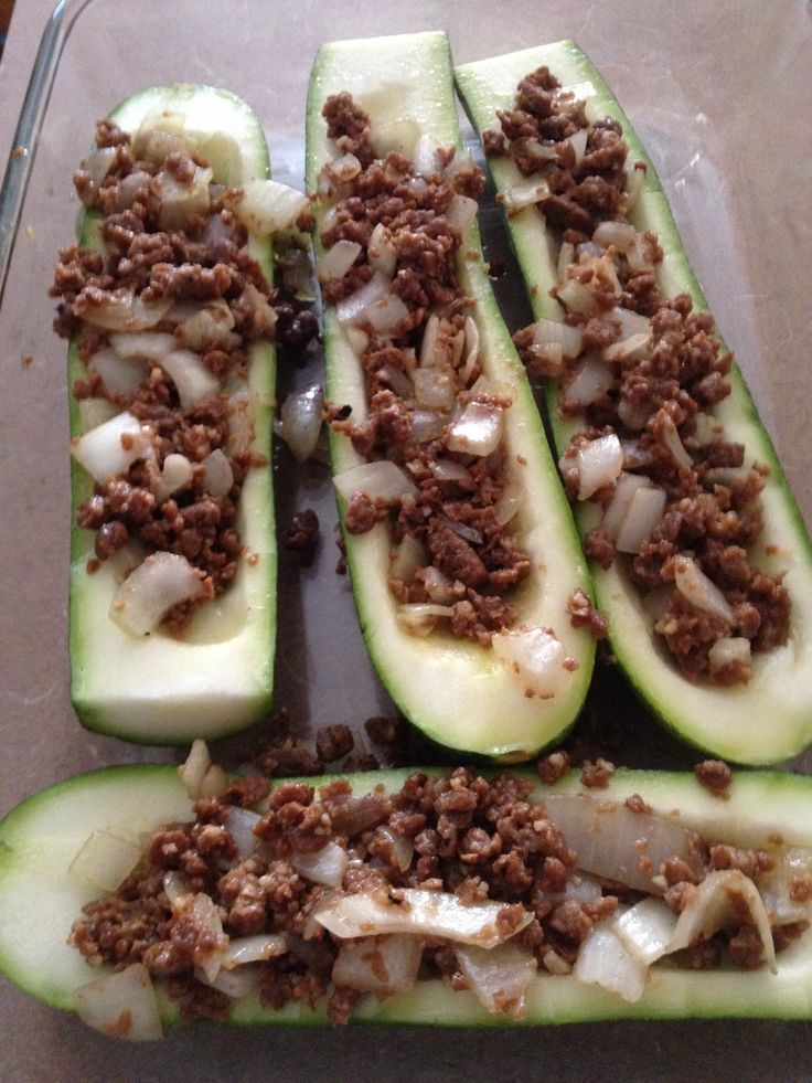 Stuffed zucchini. Boca burger crumbles and sautéed onions and garlic ...