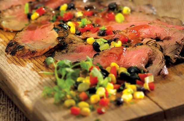 Tex-Mex flank steak with corn salsa | fooood | Pinterest