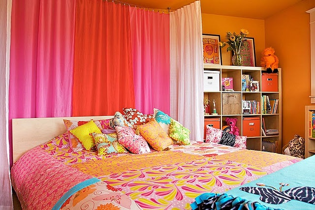 colorful girl 39 s bedroom orange and pink add a little purple and