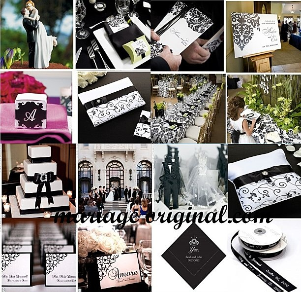 deco-mariage-baroque-noir-blanc  Black & white wedding ideas  Pinte ...