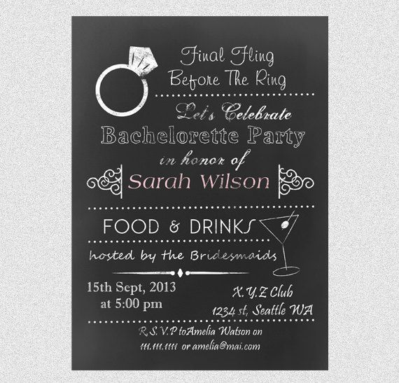 ... Chalkboard Bachelorette Party Gilrs Night Out Save The Date Invitation