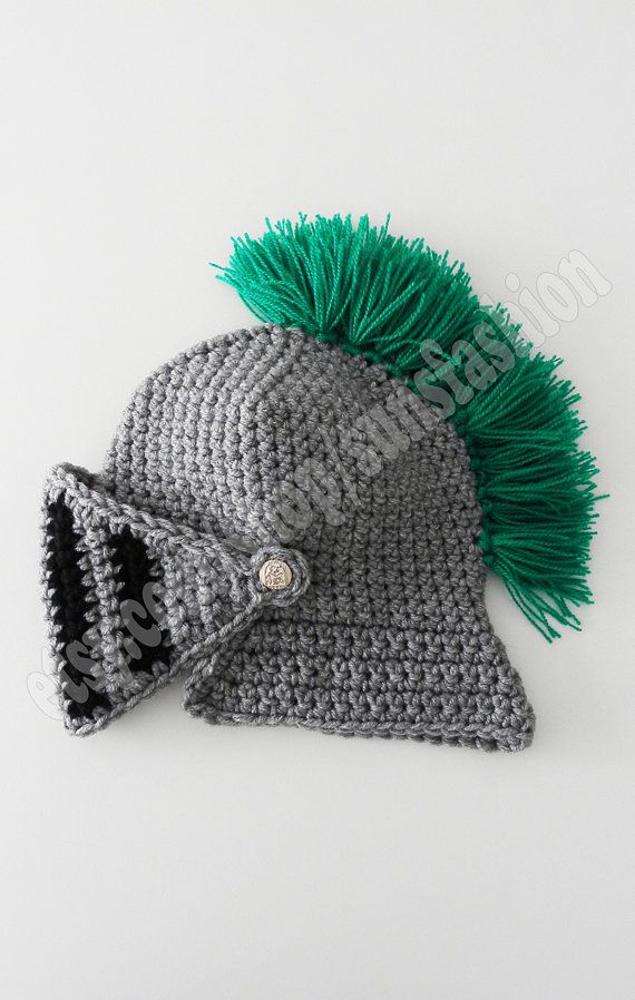 Crocheted Knight Helmet Hat Crochet Slouch Mens green Beanie Hat Hand ...