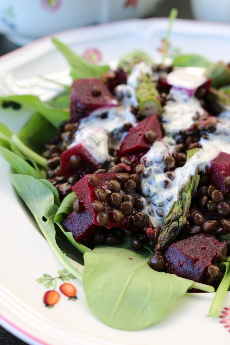 Roasted Beet and Lentil Salad with Tahini-Dill Dressing