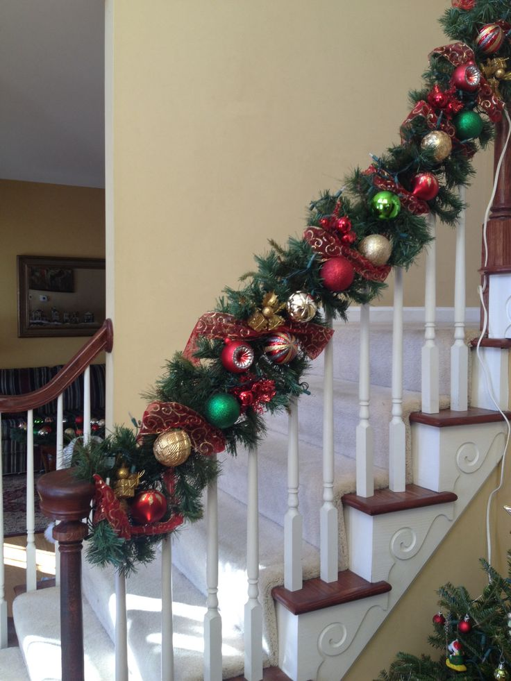 Staircase christmas garland for the home pinterest