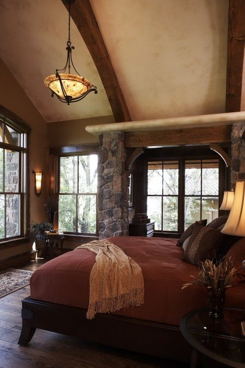 Warm rustic romantic bedroom favorite places spaces pinterest Traditional rustic master bedroom