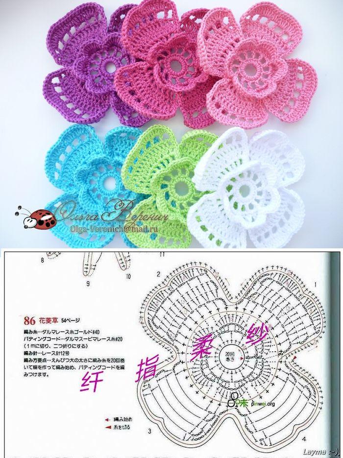 #crochet #motifs #@Af's 22/4/13jolie fleur au crochet pour fêter le printemps!