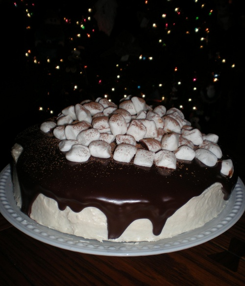 Hot Chocolate Cake with Marshmallow Frosting and Chocolate Ganache