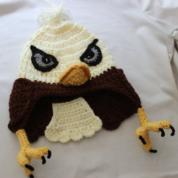 Amigurumi Gingerbread Man Free Pattern : Animal Earflap Hat - Bald Eagle with Talons, Wings, and Tail