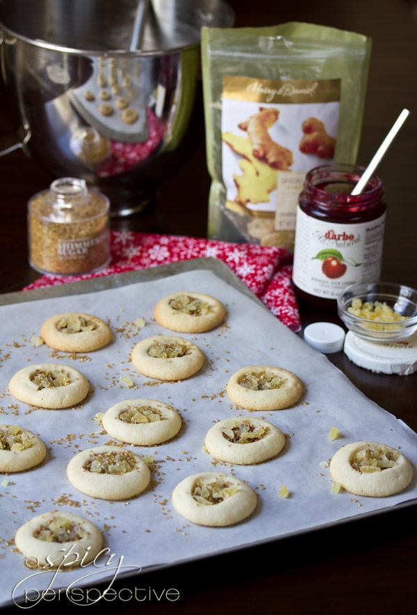Make Cherry Ginger Thumbprint Cookies | ASpicyPerspective.com #cookies ...