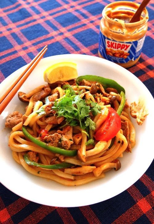 Yaki udon with peanut butter