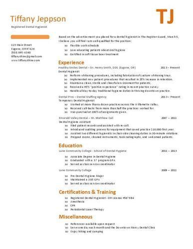Free dental hygienist resume sample