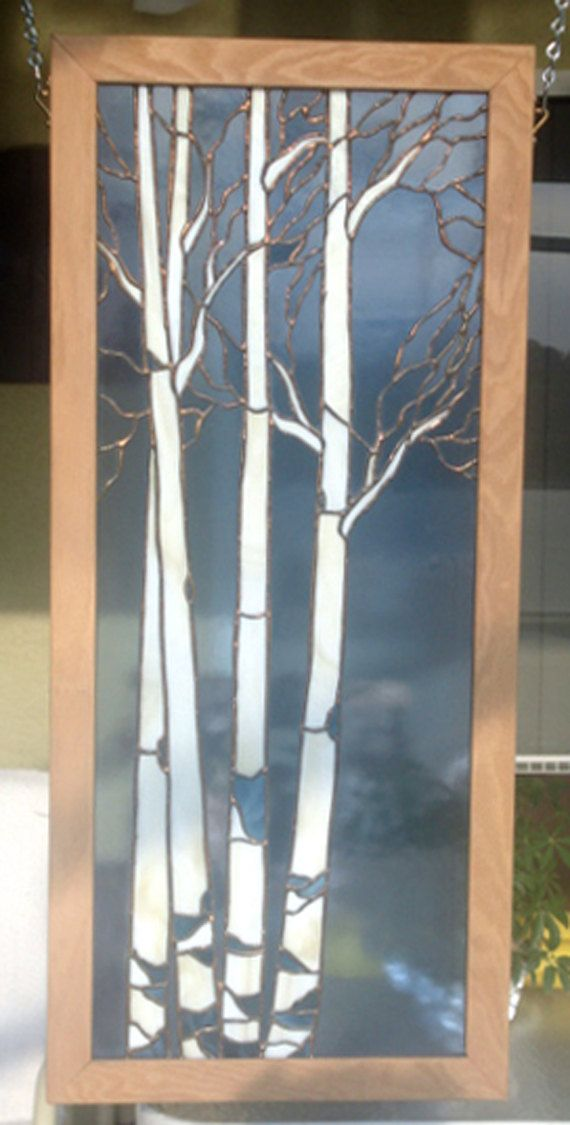 ash tree wood framed stained glass panel wall hangings