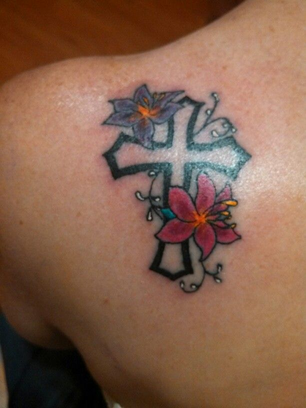 Cross with flowers tattoos for women for Flower cross tattoo