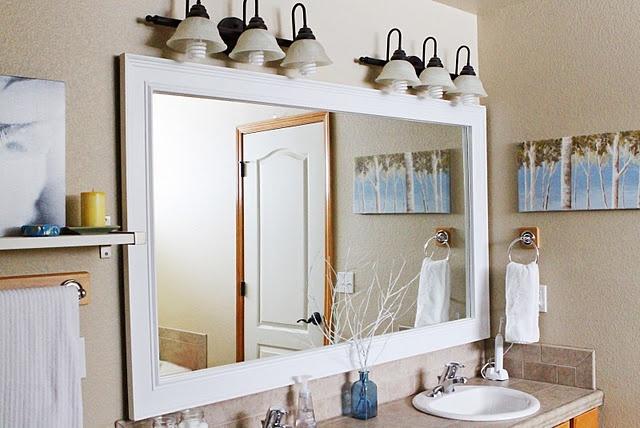 bathroom mirror frame diy diy pinterest