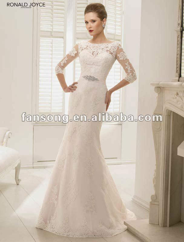 Exquisite bateau neck three quarter lace sleeve sheath for Wedding dresses with three quarter length sleeves