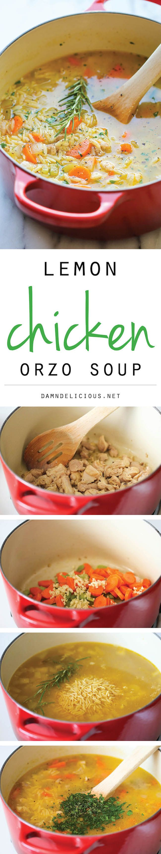 Lemon Chicken Orzo Soup - Chockfull of hearty veggies and tender ...