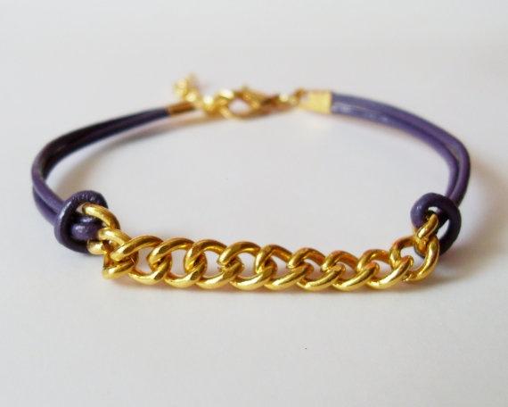 My DIY: Violet Leather Chain Bracelet by starryday