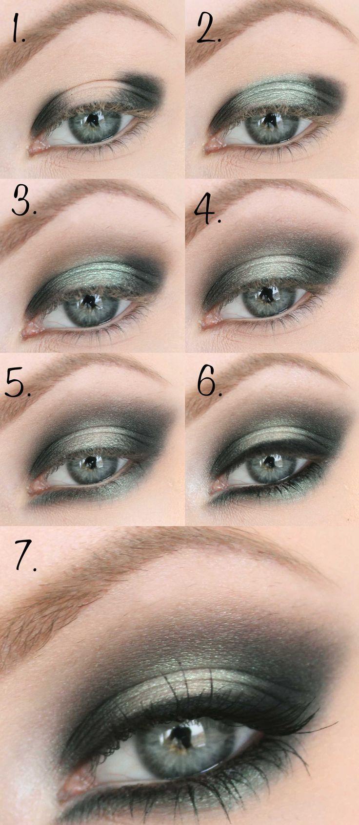 Смоки айс для серо зеленых глаз пошаговое фото