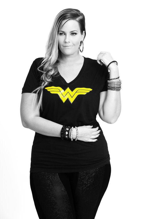 Wonder woman gold logo v neck t shirt plus size tee shirt superhe