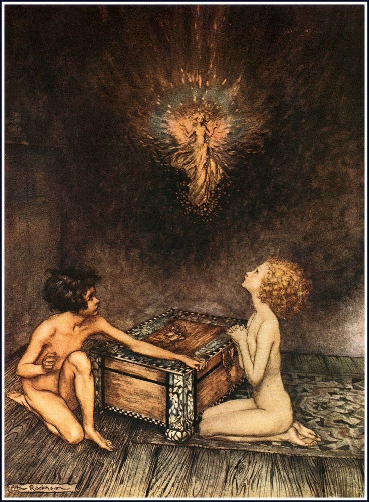 Arthur Rackham - Epimeteo, Pandora y Elpis