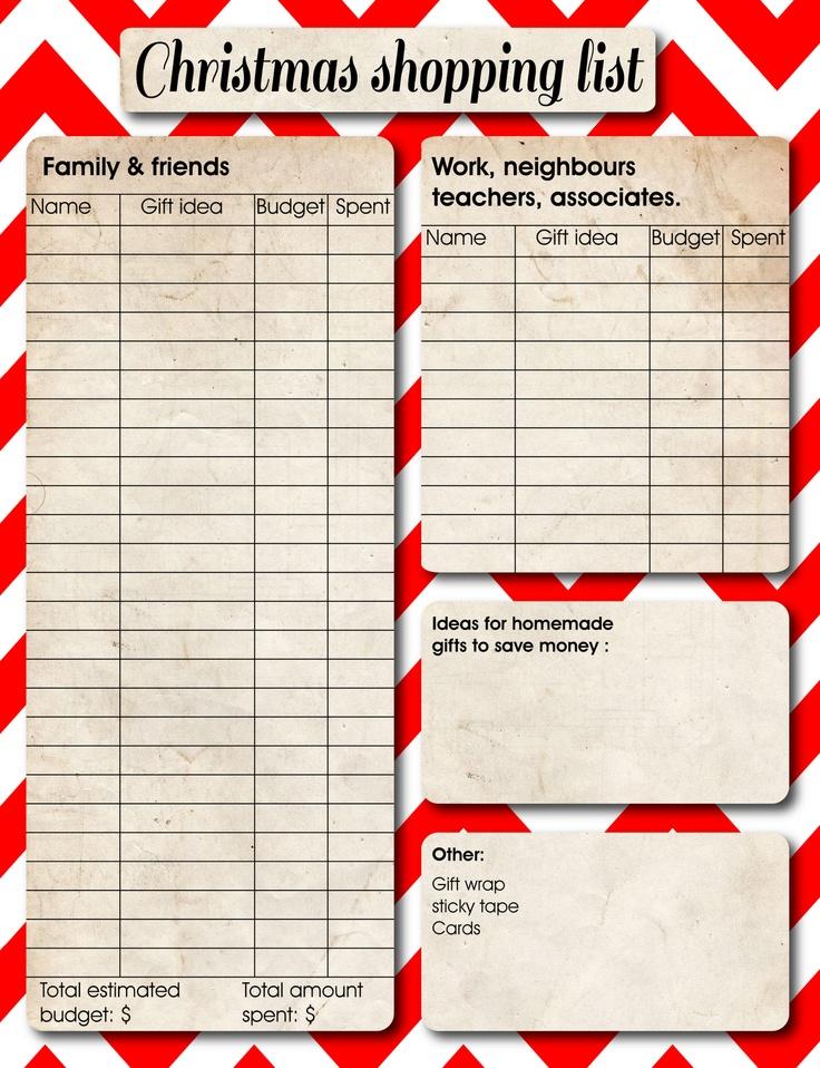 printable christmas gift list template - zrom