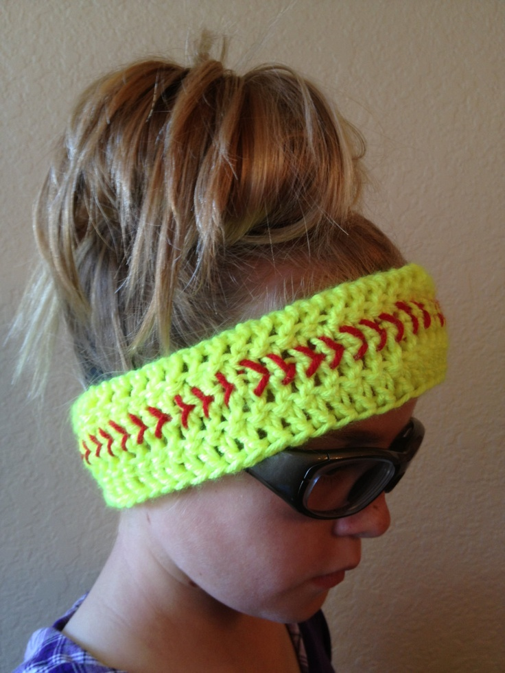 Free Crochet Pattern For Softball Headband : Softball Headband- Softball Headwrap